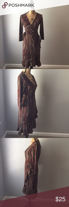 ❗️Nine West Dress❗️ Brown multicolored dress 95% polyester 5% spandex in excellent condition Nine West Dresses