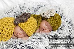 Twin Yellow Green Baby Bowl Hat Set