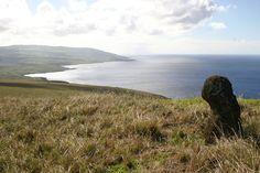 Rapa Nui / Easter Island / Isla de Pascua. Isolated, heavily weathered (Rano Raraku tuff) moai on Poike. Rapa Nui archaeology (35)/ Rapa Nui landscape (26). Photo: Mike Seager Thomas, UCL Rapa Nui Landscapes of Construction Project. You are welcome to use/ circulate the photo but please credit it to the project