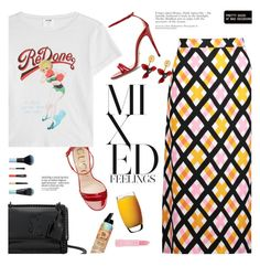 """""""mixed prints"""" by little-curly-juli ❤ liked on Polyvore featuring Yves Saint Laurent, Gucci, RE/DONE, Marni, Bumble and bumble, Forever 21, Various Projects, Luigi Bormioli and mixedprints"""