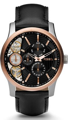 Fossil Men's ME1099 Black Leather Strap Textured Black Cutaway Analog Dial Chronograph Watch < $124.14 > Fossil Watch Men