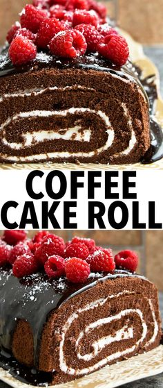 EASY MOCHA CAKE ROLL, filled with buttercream icing and covered in ganache and fresh raspberries! This easy cake roll is packed with chocolate and coffee. From cakewhiz.com