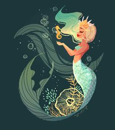 Seahorse Mermaid - Print sold by The Art of Sara Sturges. Shop more products from The Art of Sara Sturges on Storenvy, the home of independent small businesses all over the world. Mermaid Illustration, Art And Illustration, Illustrations, Mermaid Cove, Mermaid Fairy, Cute Mermaid, Mermaid Drawings, Art Drawings, Drawings Of Mermaids