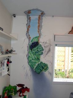 Paint by Number Wall Murals For Kids Rooms - Uncinetto Kids Wall Murals, Murals For Kids, Kids Wall Decor, Room Decor, Marvel Bedroom, Avengers Room, Superhero Room, Baby Kind, Kids Bedroom