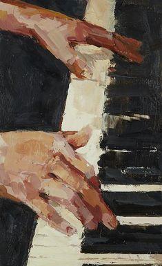 Der Klang von Schwarz und Weiß, Enkaustik, 18 x 11 Zoll - art - The sound of black and white, encaustic, 18 x 11 inches - art - Art And Illustration, Painting Illustrations, Vintage Illustrations, Illustrations Posters, Piano Art, Violin Art, Violin Music, Encaustic Painting, Aesthetic Art
