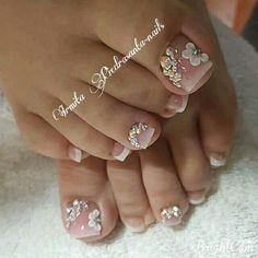 ToeNail #Toe #Nail #Pedi #Pedicura  #Pies #Uñas #Boda #French #Crema