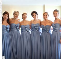 The bridesmaids wore chiffon dresses with a sweetheart neckline and a sculpted satin bow.