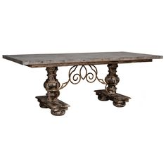 Weathered Scroll Dining Table