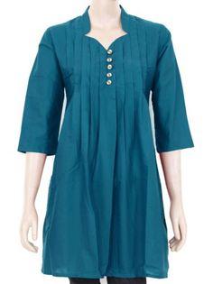 Ethnic-Indian-Cotton-Cerulean-Top-Kurti-Kurta-Kurthi-Dress-Pleated-Wood-buttons