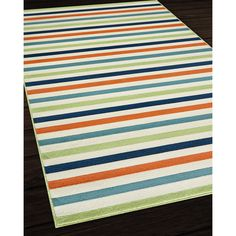 Indoor/Outdoor Multicolor Striped Rug (8'6 x 13') | Overstock.com Shopping - Great Deals on 7x9 - 10x14 Rugs
