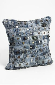 shipping and returns on Mina Victory Button Denim Pillow at . Upcycled waistbands from well-worn jeans compose a distinctive denim pillow for a touch of flea-market chic. Jean Crafts, Denim Crafts, Upcycled Crafts, Sewing Hacks, Sewing Projects, Artisanats Denim, Denim Ideas, Fabric Crafts, Pillows