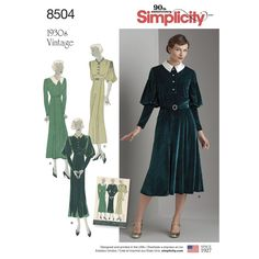 Simplicity vintage dresses circa 1930 feature classic silhouettes with button front, neckline, and sleeve variations. From daytime chic to elegant night, you'll be in classic good taste.