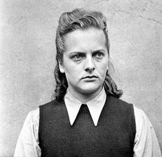 """Irma Grese, the """"Hyena of Auschwitz,"""" a vicious, sadistic guard who was described by one interviewer as """"the worst human being I have ever encountered."""" She was hanged at the age of 22 alongside other sadists from Auschwitz and Belsen."""