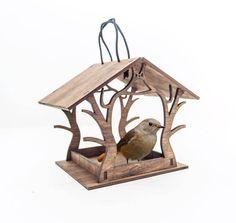 Brown bird feeder - Laser cut bird feeder - Housewarming gift - Hanging bird feeder - Wooden b. Wood Bird Feeder, Bird House Feeder, Hanging Bird Feeders, Wooden Bird Houses, Outdoor Carpet, Bird Boxes, Bird Tree, Wooden Decor, Bird Design