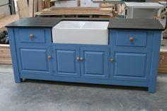 Freestanding Kitchen Sink Cupboard | Etsy Contemporary Kitchen Sinks, Freestanding Kitchen, Kitchen Sink Units, Kitchen Corner, Free Standing Sink, Belfast Sink, Bespoke Furniture, Adjustable Shelving