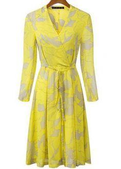 Fine Quality V Neck Long Sleeve Print Chiffon Dress