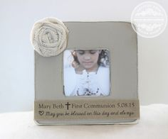 First Holy Communion Gift Personalized Picture Frame Gift for First Holy Communion Rustic Custom Gift by CrystalCoveDS on Etsy https://www.etsy.com/listing/229909437/first-holy-communion-gift-personalized