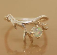 Opal Antler Ring 2,sterling silver antler ring,alternative engagement ring, twig…