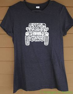 Hand silk screened Tri-Blend T-Shirt with Original Jeep Tattoo artwork. Just like the artwork on my great bags here is a fun Ladies Tri-Blend short sleeve t-shirt for those of you who would rather have a shirt than a bag to show off the artwork! :) This tee is super soft and super comfy! The item is based on a Womens sizes. Show your love of your Jeep as I do love mine for sure with this unique one of a kind artwork t-shirt! :) Design is an original one of a kind free hand drawn by me…