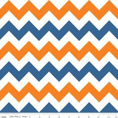 Riley Blake Designs - Chevron - Medium Chevron in Orange and Blue