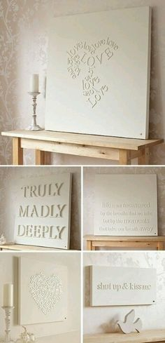 Take wood letters, glue onto canvas, and paint! Easy and cute.