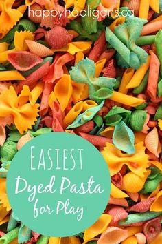 The easiest way to dye pasta for sensory play, fine motor activities and toddler crafts. No mess! No waste! No rubbing alcohol!