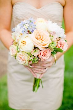 Peach Rose and Blue Hydrangea Bouquet | photography by http://www.harrison-studio.com/