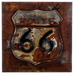 Get your kicks with this stunning Rustic Route 66 Metal Wall Plaque!