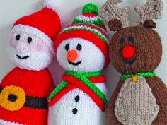 Knitting+Pattern+Of+The+Week:+Santa,+Snowman+and+Reindeer+Toys Tricô + Padrão + Of + The + Week: + Papai Noel, + Boneco de neve + e + Rena + Brinquedos Knitted Christmas Decorations, Christmas Toys, Xmas, Father Christmas, Baby Knitting Patterns, Free Knitting, Free Christmas Knitting Patterns, Knitted Doll Patterns, Knitting Toys