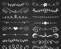 Black Hand Drawn Text Dividers  Vintage Divider Commercial