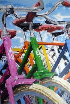Original Bicycle Painting by Trafic D'art Wood Colors, Paint Colors, Original Paintings, Original Art, Bicycle Painting, Artwork Online, Blue Painting, Wood Art, Buy Art