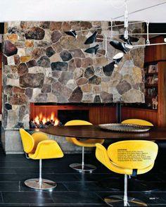 vintage   yellow   stone fireplace
