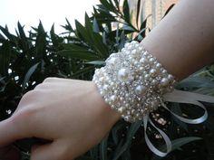 Bridal Jewelry Wedding Pearl Bracelet Rhinestone by weddingtrend