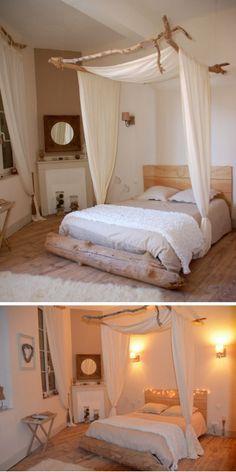 DIY Driftwood Canopy Bed from Cote Maison.Elodie, the decorator...