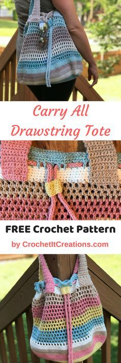 Carry All Drawstring Tote Crochet Pattern