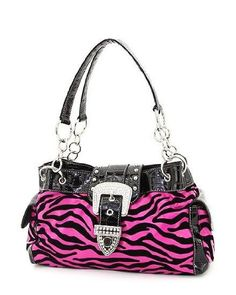 Hot Pink & Black Velvet Zebra Rhinestone Buckle Purse