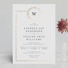 """Little Wreath"" - Monogram Foil-pressed Wedding Invitations in Pearl by Phrosne Ras."