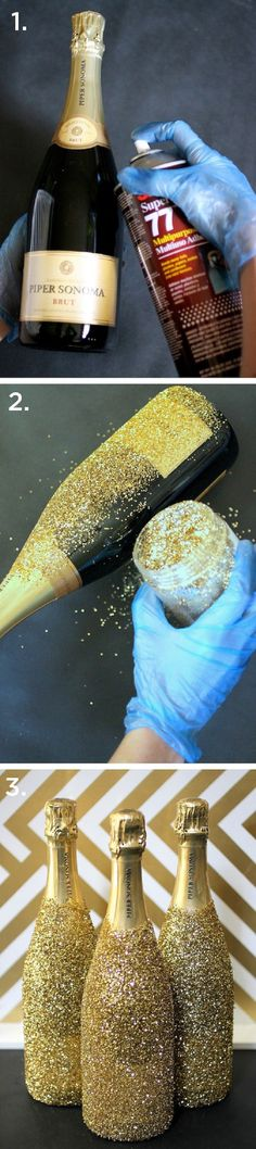 Glitter Champagne Bottles - 15 Buoyant DIY New Year's Eve Party Ideas | GleamItUp
