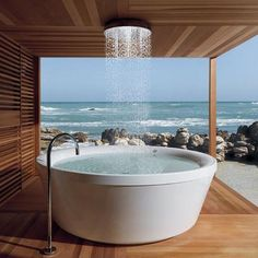 would not mind a dip in this outdoor tub
