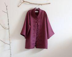 custom heavy linen swallow poncho coat with big pockets