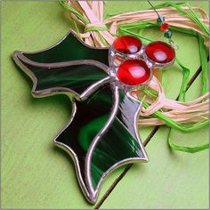 Small Holly Berry 3D Stained glass Christmas ornament by RainbowStainedGlass on Etsy https://www.etsy.com/listing/214176265/small-holly-berry-3d-stained-glass