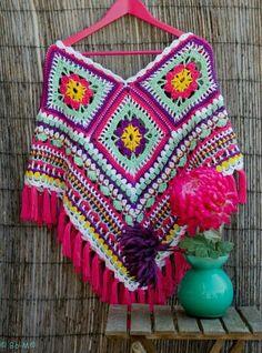 Bo-M granny square poncho - inspiration - make tassels instead of fringe