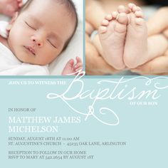 Elegant baby blue and whimsical calligraphy dress up this lively baptism invitation.