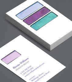 Business card design for freelance makeup artist graphic design perfect palette these business cards for makeup artists are a visual reminder of all the colourmoves
