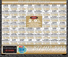 Ad for our Used Cars for July 20th Weekend - Puente Hills Toyota & Scion