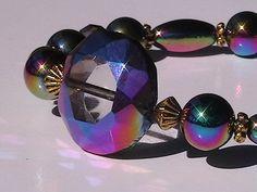 Rainbow Window Bead Focal Hematite Magnetic by PineBranchDesigns, $13.00