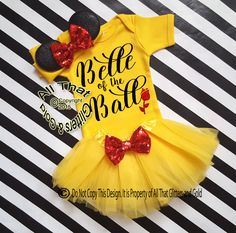 Exclusive All That Glitters and Gold Design. Cute 3pc Belle Inspired Birthday Tutu Costume For Baby Girls and Little Girls 0-3 months to Size 6Your little one will be the belle of the ball in our adorable Belle inspired from Beauty and the Beast tutu outfit.