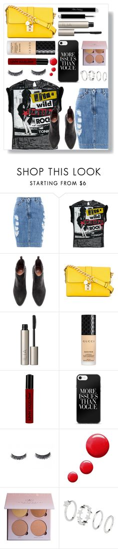 """""""Untitled #150"""" by finderskeeper ❤ liked on Polyvore featuring Moschino, Dolce&Gabbana, Ilia, Gucci, NYX and Topshop"""