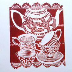time for tea lino print