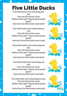 Five Little Ducks Song And Activity Ideas